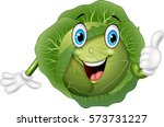 cartoon cabbage giving thumbs up | Shutterstock . vector #573731227