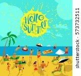 summer beach people set.... | Shutterstock .eps vector #573732511