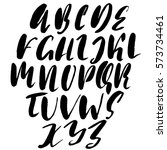 hand drawn font made by dry... | Shutterstock .eps vector #573734461