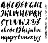 hand drawn font made by dry... | Shutterstock .eps vector #573734629