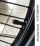 Small photo of close up of capacity round bicycle tire, air pressure