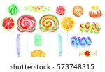 fruity lollipops sweet bright... | Shutterstock . vector #573748315