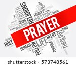prayer word cloud collage ... | Shutterstock .eps vector #573748561