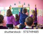 school children are... | Shutterstock . vector #573749485