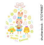 egg shaped easter greeting card ... | Shutterstock .eps vector #573749887