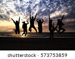 group of silhouette people... | Shutterstock . vector #573753859