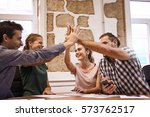 team of four young business...   Shutterstock . vector #573762517