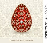 vintage jewelry gold egg with... | Shutterstock .eps vector #573772471