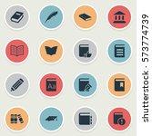 set of 16 simple education... | Shutterstock . vector #573774739