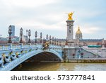 alexandre iii bridge  paris... | Shutterstock . vector #573777841