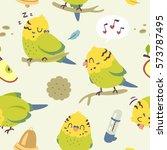 vector cartoon budgie parrot ... | Shutterstock .eps vector #573787495