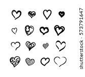 heart icons set vector ink... | Shutterstock .eps vector #573791647