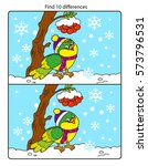 cute bird with snowflakes in... | Shutterstock .eps vector #573796531