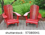 Two red chairs - stock photo