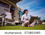 woman on the grass  looking at... | Shutterstock . vector #573801985