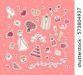 wedding simple objects... | Shutterstock .eps vector #573804937