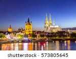 cologne cathedral along river... | Shutterstock . vector #573805645