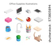 Office supplies illustration: computer, pencil, table, lamp, papers, coffee mug, smartphone, cactus, cat. 3d objects