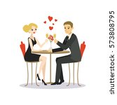man and woman dinner in a... | Shutterstock .eps vector #573808795