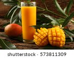 refreshing glass of tropical... | Shutterstock . vector #573811309