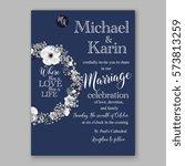 anemone wedding invitation card ... | Shutterstock .eps vector #573813259