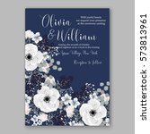 anemone wedding invitation card ... | Shutterstock .eps vector #573813961