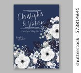 anemone wedding invitation card ... | Shutterstock .eps vector #573814645