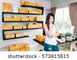 young asian small business... | Shutterstock . vector #573815815
