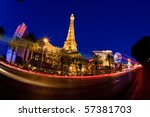 Stock photo las vegas nv may night street scene with colorful lights featuring paris and bally s hotels 57381703