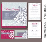 set of wedding cards or... | Shutterstock .eps vector #573818161