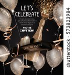 party invitation card with... | Shutterstock .eps vector #573823984