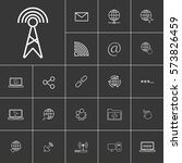 antenna. linear internet icons...