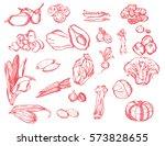 set of various red vegetables...   Shutterstock .eps vector #573828655