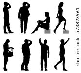 set black silhouettes of... | Shutterstock .eps vector #573828961