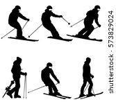 set mountain skier speeding... | Shutterstock .eps vector #573829024
