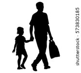 silhouette of happy family on a ... | Shutterstock .eps vector #573830185