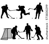 set of silhouettes hockey... | Shutterstock .eps vector #573830299
