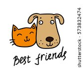Stock vector cute cat and dog best friends vector illustration 573832474