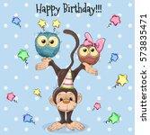 birthday card two cute cartoon...   Shutterstock . vector #573835471