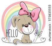 cute puppy girl on a rainbow... | Shutterstock . vector #573835555
