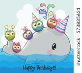 birthday card cute cartoon... | Shutterstock . vector #573835621