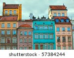 image of colorful old houses in ... | Shutterstock . vector #57384244