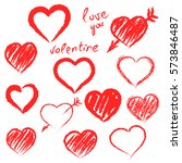 vector hearts set. hand drawn. | Shutterstock .eps vector #573846487