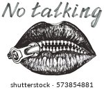 no talking  her lips closed... | Shutterstock .eps vector #573854881