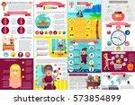 woman infographic elements data ... | Shutterstock .eps vector #573854899