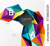 low poly polygonal triangle... | Shutterstock .eps vector #573863335
