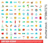 100 sea icons set in cartoon... | Shutterstock .eps vector #573867271