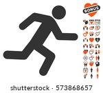 running man icon with bonus... | Shutterstock .eps vector #573868657