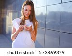 nice young female girl business ... | Shutterstock . vector #573869329