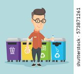 caucasian man throwing away... | Shutterstock .eps vector #573871261